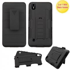 LG X Style / Tribute HD Black/Black Advanced Armor Stand Case Combo with Black Holster