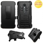 Motorola Droid MAXX 2 Black/Black Advanced Armor Stand Protector Cover (With Black Holster)