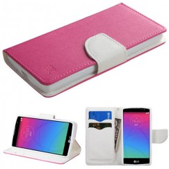 LG Escape 2 Hot Pink Pattern/White Liner wallet with Card Slot