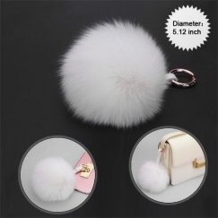 Cellphone Charm-White White Fox Wool Ball (Diameter:5.12 inch)