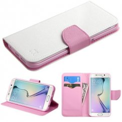 Samsung Galaxy S6 Edge White Pattern/Pink Liner wallet with Card Slot
