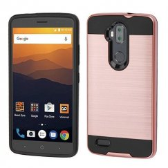 ZTE Blade Max 3 / Max XL Rose Gold/Black Brushed Hybrid Case