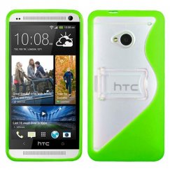 HTC One M7 Transparent Clear/Solid Green (S Shape With Stand) Gummy Cover