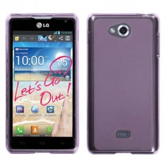 LG Spirit 4G Semi Transparent Purple Candy Skin Cover - Rubberized