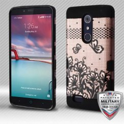 ZTE Grand X Max 2 Black Lace Flowers (2D Rose Gold)/Black Hybrid Case Military Grade