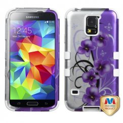 Samsung Galaxy S5 Twilight Petunias 2D Silver/Solid White Hybrid Case