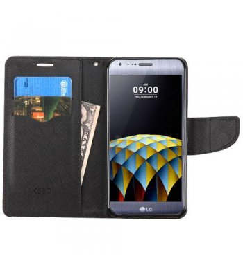 LG X Cam K580 Black Pattern/Black Liner wallet with Card Slot
