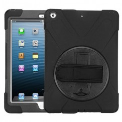 AppleiPad iPad Air 1st Gen Black/Black Rotatable Stand Protector Cover (with Wristband)