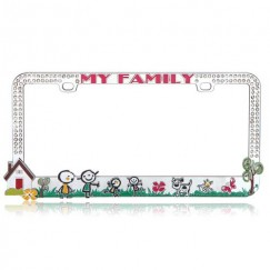 Customizable Loving Family License Plate Frame with White Crystal