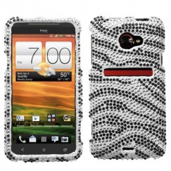 HTC EVO 4G LTE Black Zebra Skin Diamante Case