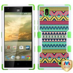 ZTE Warp Elite Tribal Sun/Electric Green Hybrid Case