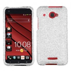 HTC Droid DNA Silver Diamante Case