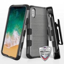 Apple iPhone X Black Brushed/Black Hybrid Case Military Grade with Black Horizontal Holster
