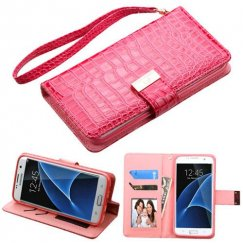 Samsung Galaxy S7 Edge Hot Pink Crocodile-Embossed Wallet