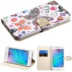 Samsung Galaxy J7 Butterfly Wonderland Diamante Wallet with Diamante Belt