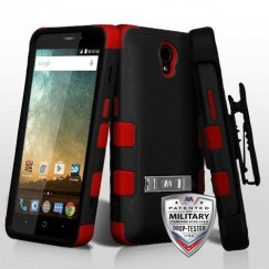 ZTE Prestige 2 Natural Black/Red Hybrid Case with Stand Military Grade with Black Horizontal Holster