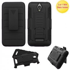 ZTE Obsidian Black/Black Advanced Armor Stand Case with Black Holster