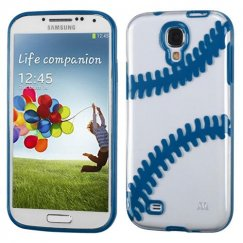 Samsung Galaxy S4 Transparent Clear/Dark Blue(Baseball) Gummy Cover