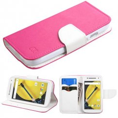 Motorola Moto E 2nd Gen Hot Pink Pattern/White Liner wallet with Card Slot