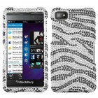 Blackberry Z10 Black Zebra Skin Diamante Case