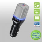 Black/Gray Anion Car Charger with Air Purifier with Dual USB output - 3.1 Amps