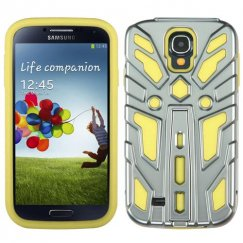 Samsung Galaxy S4 Silver Plating/Yellow Zenobots Hybrid Case