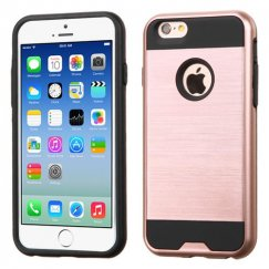 Apple iPhone 6/6s Rose Gold/Black Brushed Hybrid Case