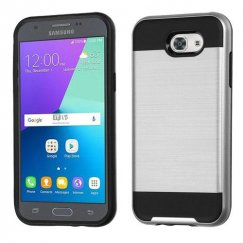 Samsung Galaxy J3 Silver/Black Brushed Hybrid Case