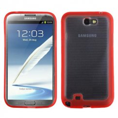 Samsung Galaxy Note 2 Horizontal Stripes Transparent Clear/Solid Red Blue Gummy Cover