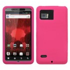 Motorola Droid Bionic Solid Skin Cover - Hot Pink