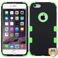 Apple iPhone 6/6s Plus Rubberized Black/Electric Green Hybrid Case