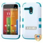 Motorola Moto G Natural Ivory White/Tropical Teal Hybrid Phone Protector Cover (with Stand)