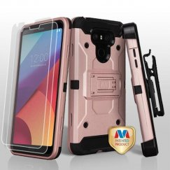 LG G6 Rose Gold/Black 3-in-1 Kinetic Hybrid Case Combo with Black Holster and Twin Screen Protectors
