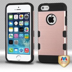 Apple iPhone 5/5s Rose Gold/Black Brushed Hybrid Case