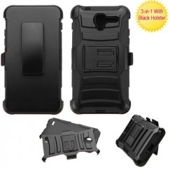 Kyocera Hydro Reach / Hydro View Black/Black Advanced Armor Stand Case with Black Holster