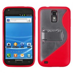 Samsung Galaxy S2 Transparent Clear/Solid Red (S Shape With Stand) Gummy Cover
