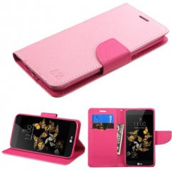 LG K8 / Phoenix 2 Pink Pattern/Hot Pink Liner Wallet with Card Slot