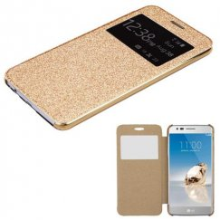 LG K8 / Phoenix 3 Gold Glittering with Transparent Frosted Tray