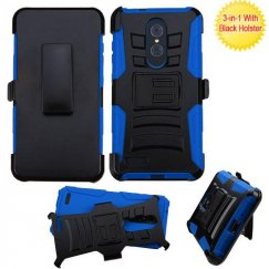 ZTE Grand X Max 2 Black/ Blue Advanced Armor Stand Case with Black Holster