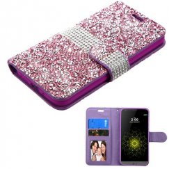 LG G5 Purple Mini Crystals with Silver Belt Wallet