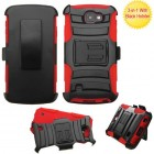 LG Optimus Zone 3 / Spree Black/Red Advanced Armor Stand Case with Black Holster