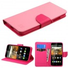 Alcatel One Touch Conquest Pink Pattern/Hot Pink Liner Wallet (with card slot)