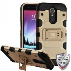 LG K10 Gold/Black Storm Tank Hybrid Case Military Grade