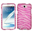 Samsung Galaxy Note 2 Zebra Skin (Pink/Hot Pink) Diamante Protector Cover