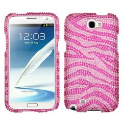 Samsung Galaxy Note 2 Zebra Skin (Pink/Hot Pink) Diamante Case