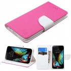 LG K10 Hot Pink Pattern/White Liner wallet with Card Slot
