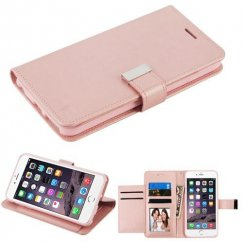 Apple iPhone 6/6s Plus Rose Gold PU Leather Wallet with extra card slots (GE035) -WP