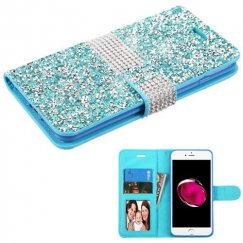 Apple iPhone 7 Plus Baby Blue Mini Crystals with Silver Belt Wallet