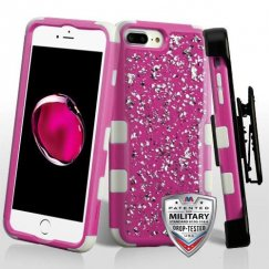 Apple iPhone 8 Plus Silver Flakes (Natural Hot Pink)/Solid White Krystal Gel Hybrid Case Military Grade with Black Horizontal Holster