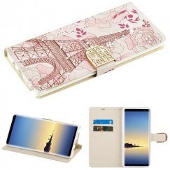 Samsung Galaxy Note 8 Eiffel Tower Diamante Wallet with Diamante Belt